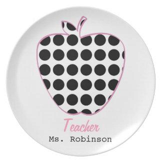 Polka Dot Apple Teacher Plate