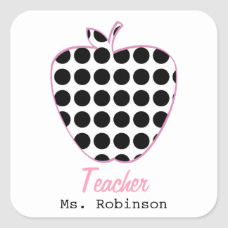 Polka Dot Apple Teacher Square Sticker