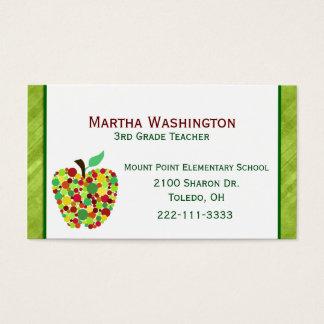 Polka Dot Apple Teachers Business Card