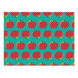 Polka Dot Apples on Teal (2) Postcard