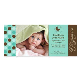 Polka Dot Baby Birth Announcement (aqua blue)