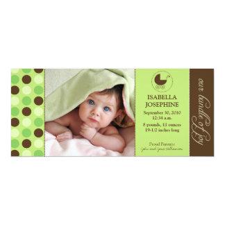 Polka Dot Baby Birth Announcement (lime green)