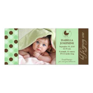 Polka Dot Baby Birth Announcement (mint green)