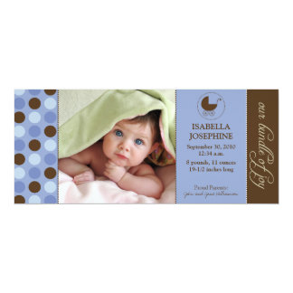 Polka Dot Baby Birth Announcement (periwinkle)