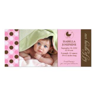 Polka Dot Baby Birth Announcement (pink)