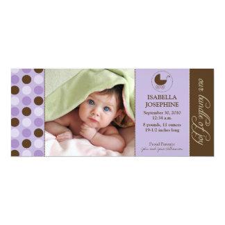 Polka Dot Baby Birth Announcement (purple)