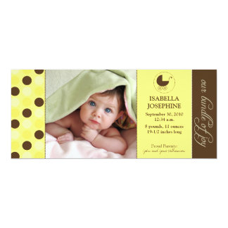 Polka Dot Baby Birth Announcement (yellow)
