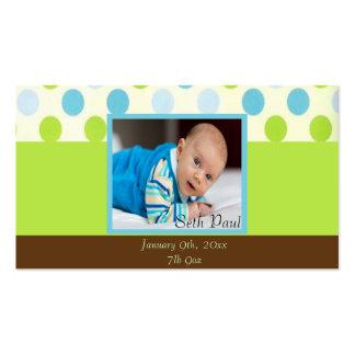 Polka Dot Baby Boy Photo Keepsake Business Card