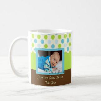 Polka Dot Baby Boy Photo Keepsake Coffee Mug