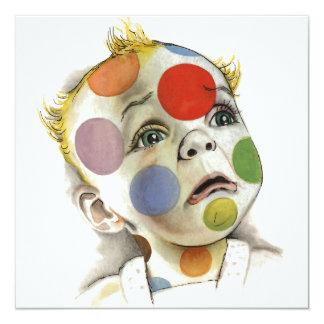 Polka Dot Baby Face Invitation Art by Lenn Redman