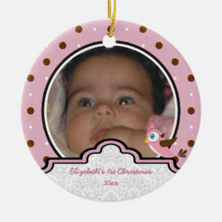 Polka dot baby girl first Christmas photo ornament