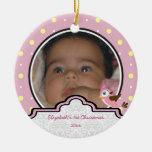 Polka dot baby girl first Christmas photo ornament