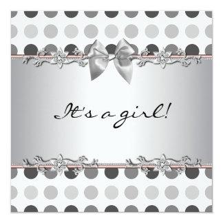 Polka Dot Baby Girl Shower Invitations