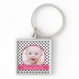 Polka Dot Baby Photo Template Keychain