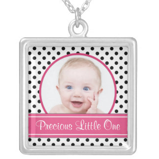 Polka Dot Baby Photo Template Necklace