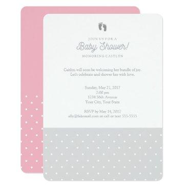 Toddler & Baby themed Polka dot baby shower invitation