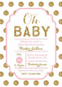 Polka dot baby shower invitations zazzle polka dot baby shower invitation pink and gold filmwisefo