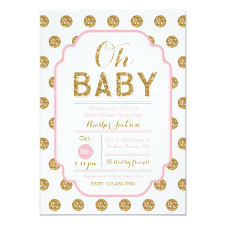 Polka Dot Baby Shower Invitation - Pink and Gold