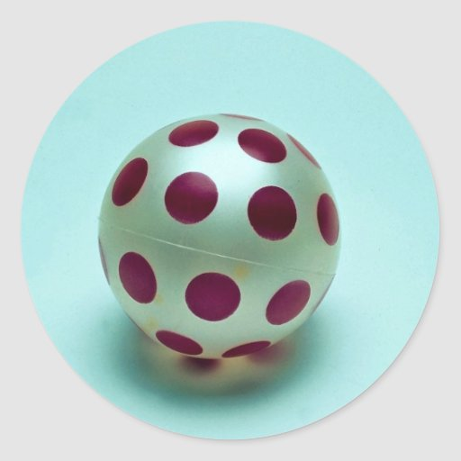 Polka dot ball toy for kids classic round sticker