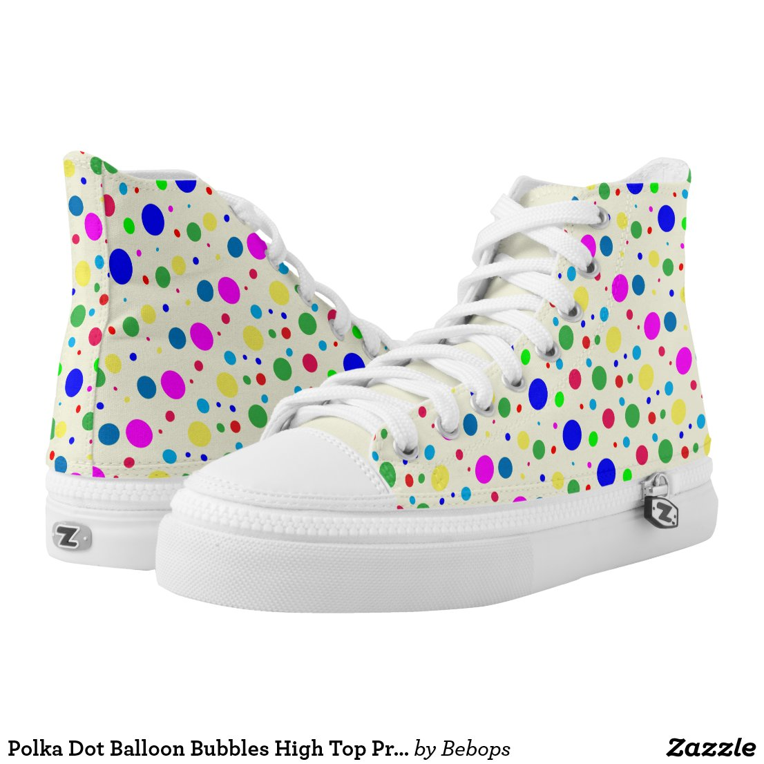 Polka Dot Balloon Bubbles High Top Printed Shoes