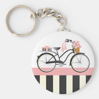 Polka Dot Bicycle Basic Round Button Keychain