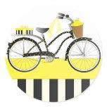 Polka Dot Bicycle Classic Round Sticker