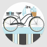 Polka Dot Bicycle Classic Round Sticker