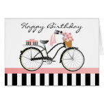Polka Dot Bicycle-solid black/white back stripe Card
