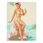 Polka Dot Bikini Pin Up Art Postcard