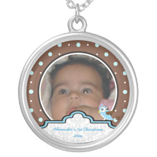 Polka dot bird label baby boy first 1st Christmas Necklace