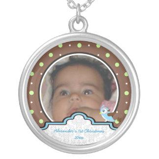 Polka dot bird label baby boy first 1st Christmas Custom Jewelry