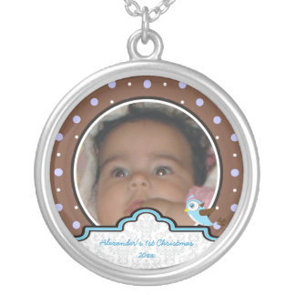 Polka dot bird label baby boy first 1st Christmas Pendant