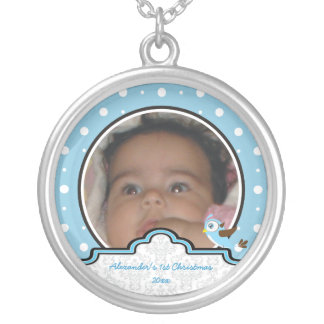 Polka dot bird label baby boy first 1st Christmas Silver Plated Necklace