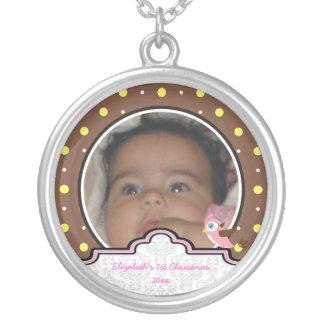 Polka dot bird label baby girl first 1st Christmas Pendant