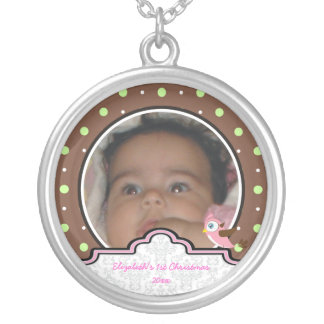 Polka dot bird label baby girl first 1st Christmas Custom Necklace