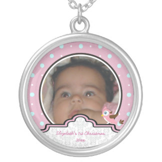 Polka dot bird label baby girl first 1st Christmas Pendants