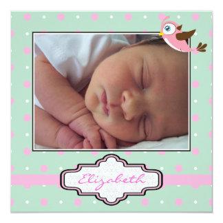 Polka dot, bird with frame baby girl birth photo personalized invite