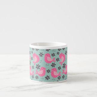 Polka Dot Birds and Flowers 6 Oz Ceramic Espresso Cup
