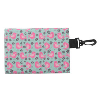 Polka Dot Birds and Flowers Accessory Bag