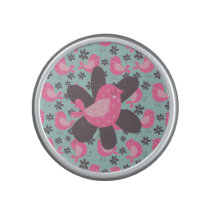 Polka Dot Birds and Flowers Bluetooth Speaker