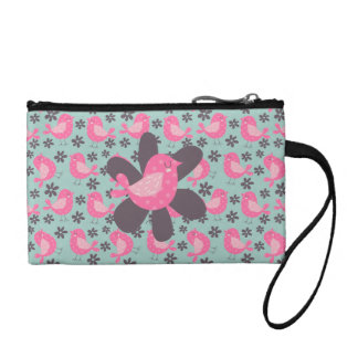 Polka Dot Birds and Flowers Coin Wallet