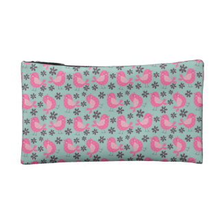 Polka Dot Birds and Flowers Cosmetic Bag