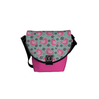 Polka Dot Birds and Flowers Courier Bag
