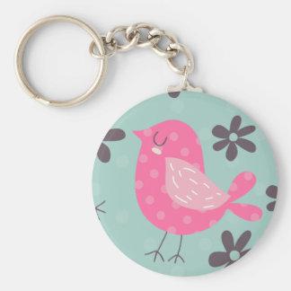 Polka Dot Birds and Flowers Basic Round Button Keychain