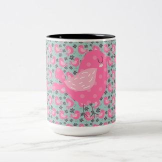 Polka Dot Birds and Flowers Two-Tone Coffee Mug