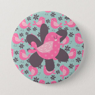 Polka Dot Birds and Flowers Pinback Button