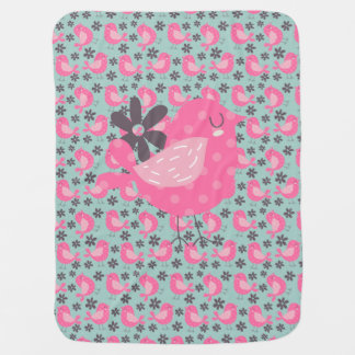 Polka Dot Birds and Flowers Receiving Blanket