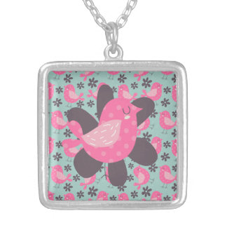 Polka Dot Birds and Flowers Square Pendant Necklace
