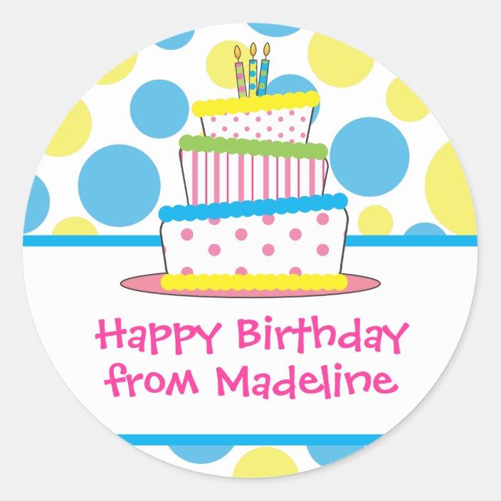 Brilliant Polka Dot Birthday Cake Gift Tag Stickers Zazzle Com Personalised Birthday Cards Petedlily Jamesorg