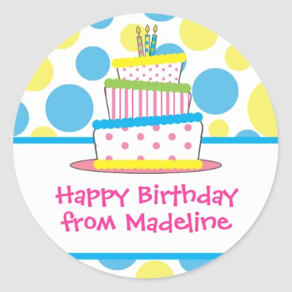 Polka Dot Birthday Cake Gift Tag Stickers